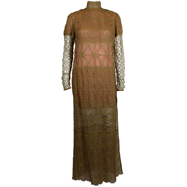 Chloe Glittering Gold Crochet Lame Illusion Gown, 1980s 1