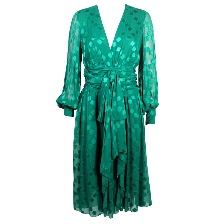 Christian dior couture emerald green chiffon dress 1970s for Dior couture dress price