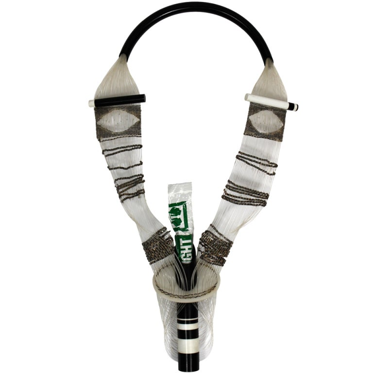 Punk Inspired Woven Metal and Plastic Glostick Necklace 1