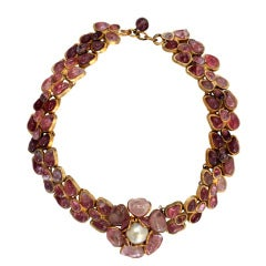 CHANEL Gripoix Gilt Poured Glass Necklace