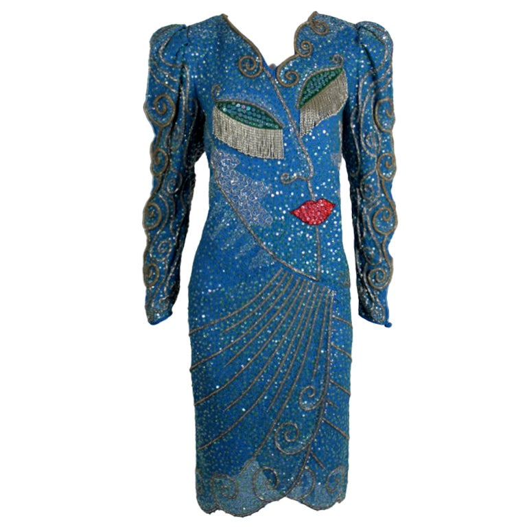 Zandra rhodes 1980s cocktail dress with whimsical portrait for Costume jewelry for evening gowns