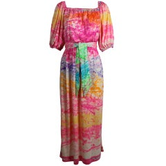 Leonard Rainbow Painterly Jersey Dress with Belt