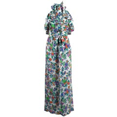 Yves Saint Laurent Vibrant Floral Silk Halter Maxi Dress