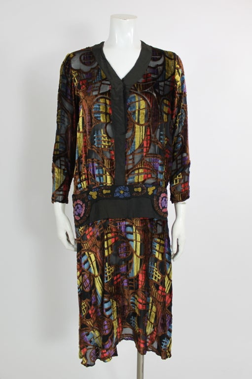 1920s Multicolored Velvet and Floral Beaded Party Dress image 2