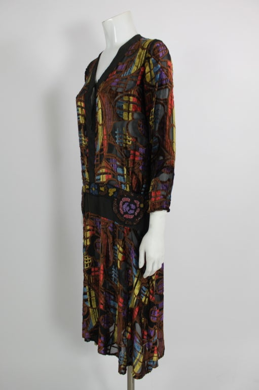 1920s Multicolored Velvet and Floral Beaded Party Dress image 3