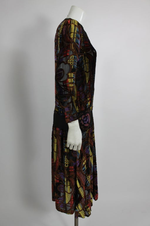 1920s Multicolored Velvet and Floral Beaded Party Dress image 4