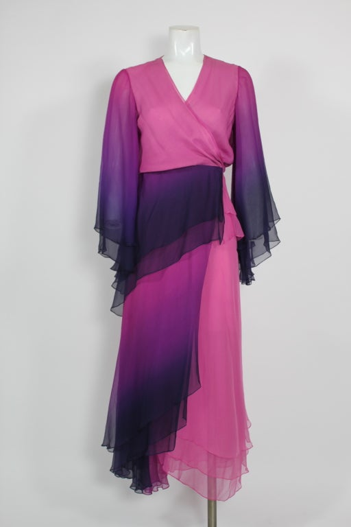 1970s Pink and Purple Ombre Chiffon Gown 2
