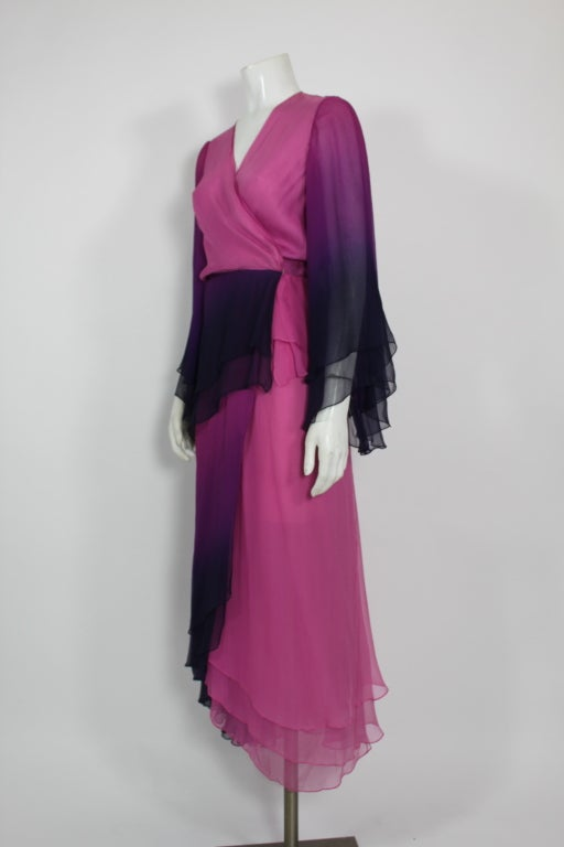 1970s Pink and Purple Ombre Chiffon Gown 3