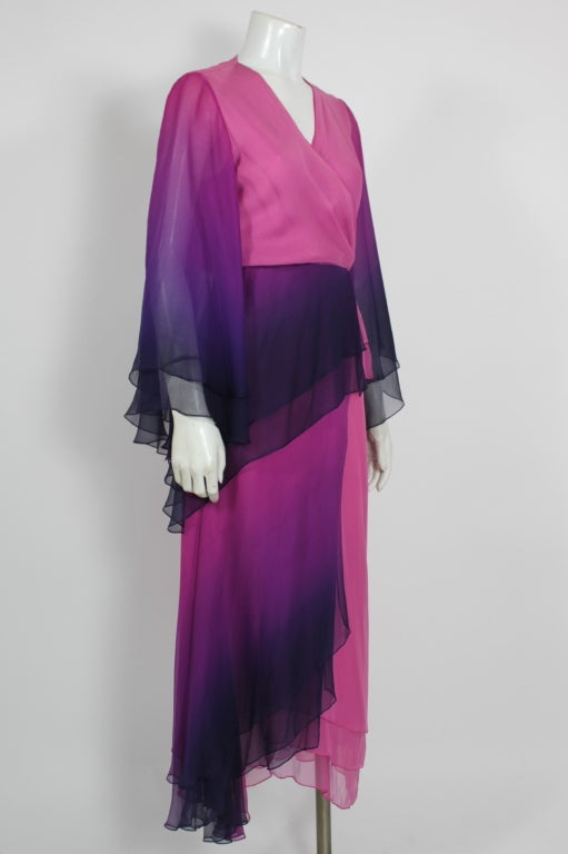 1970s Pink and Purple Ombre Chiffon Gown 4