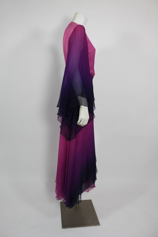 1970s Pink and Purple Ombre Chiffon Gown 5