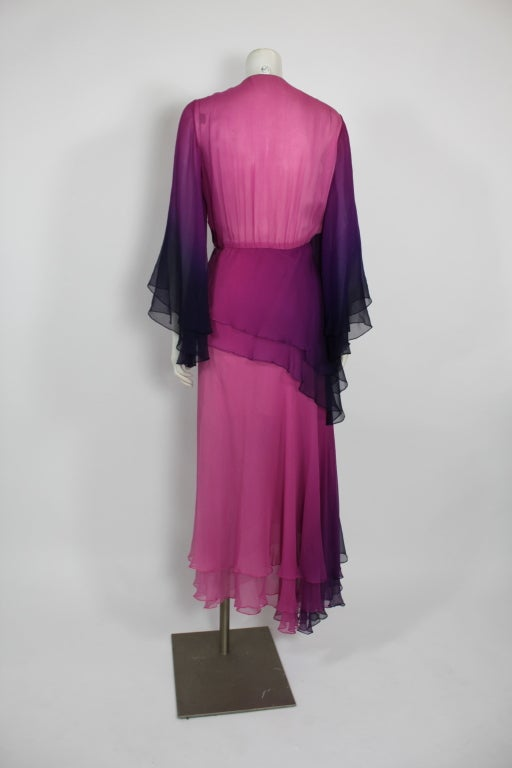 1970s Pink and Purple Ombre Chiffon Gown 6