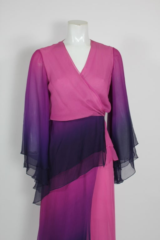 1970s Pink and Purple Ombre Chiffon Gown 7