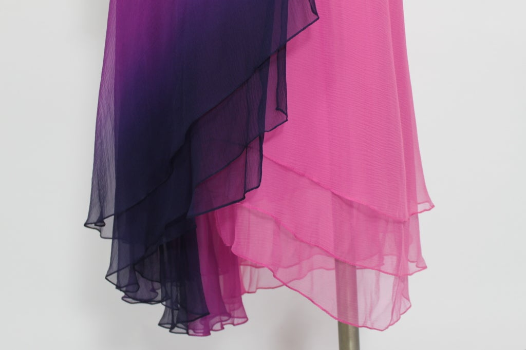 1970s Pink and Purple Ombre Chiffon Gown 8