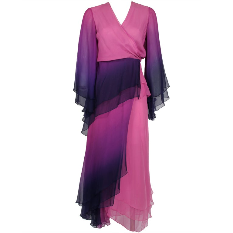 1970s Pink and Purple Ombre Chiffon Gown 1
