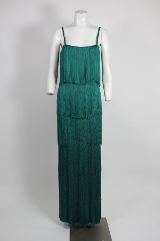 Richeline Teal Tiered Fringe Evening Gown 2
