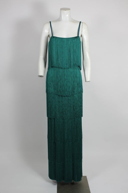 Richeline Teal Tiered Fringe Evening Gown 3