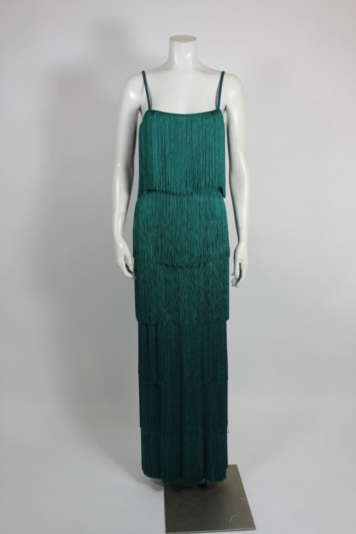 Richeline Teal Tiered Fringe Evening Gown 4