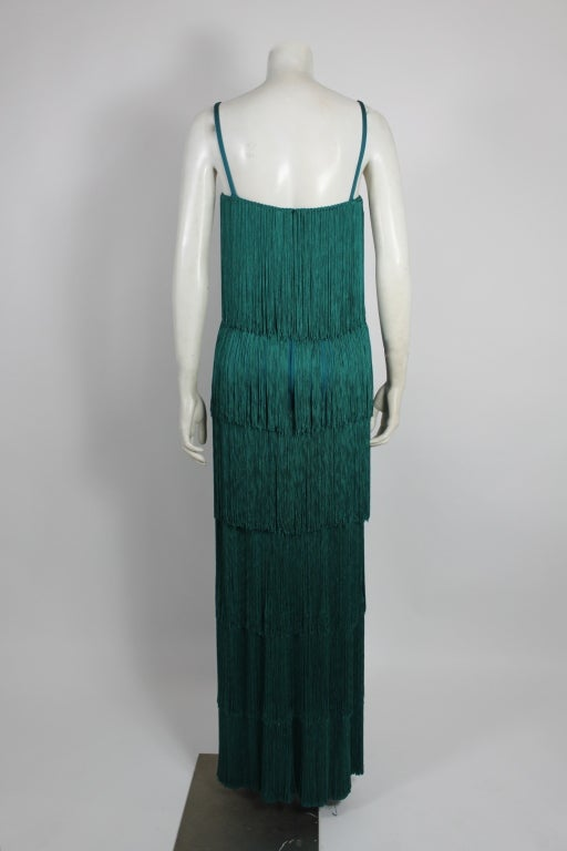 Richeline Teal Tiered Fringe Evening Gown 6
