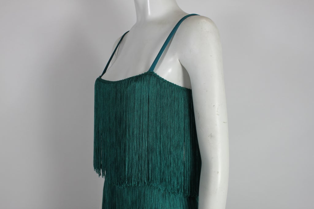 Richeline Teal Tiered Fringe Evening Gown 7