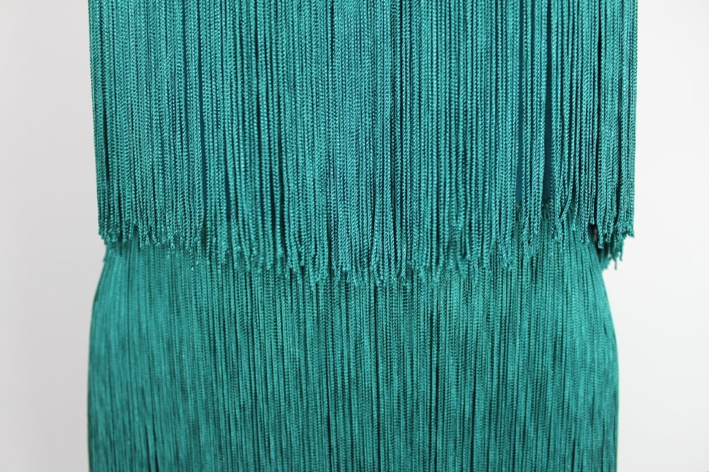 Richeline Teal Tiered Fringe Evening Gown 8