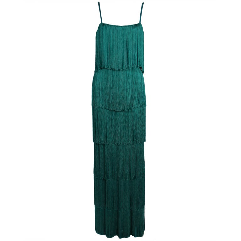 Richeline Teal Tiered Fringe Evening Gown 1
