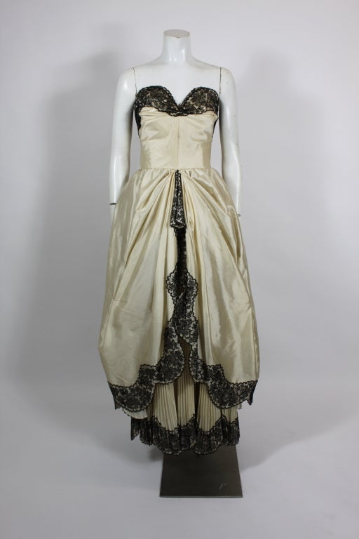 1950s Ivory Ball Gown with Lampshade Pleated Skirt 2