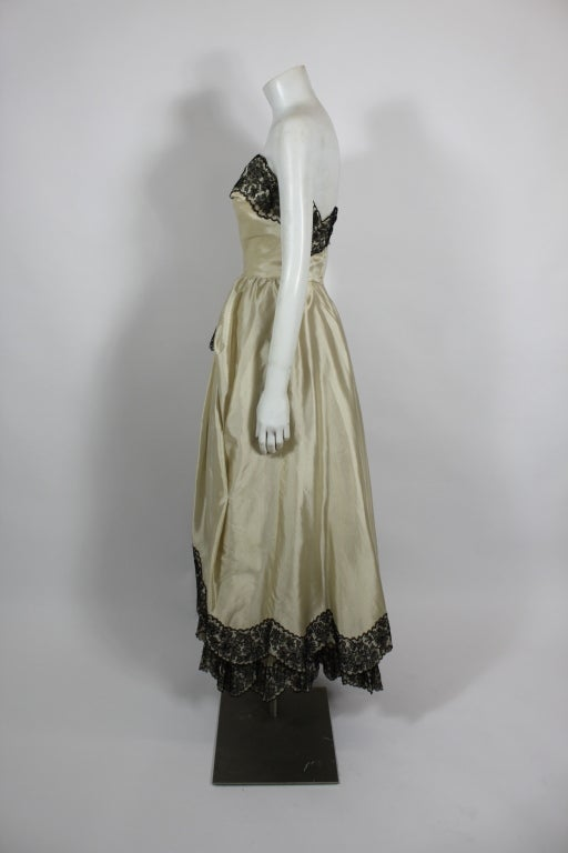 1950s Ivory Ball Gown with Lampshade Pleated Skirt 4