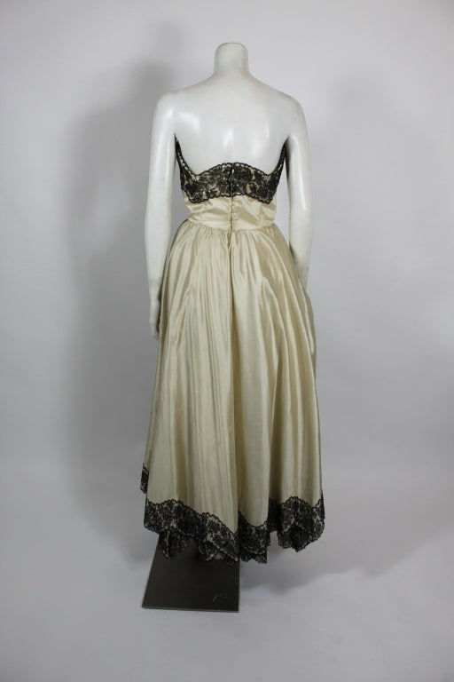 1950s Ivory Ball Gown with Lampshade Pleated Skirt 5
