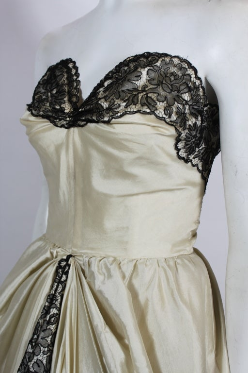 1950s Ivory Ball Gown with Lampshade Pleated Skirt 6