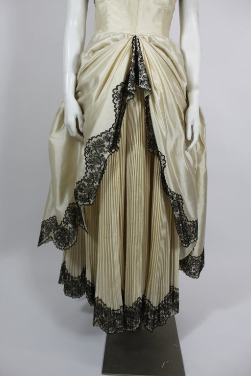 1950s Ivory Ball Gown with Lampshade Pleated Skirt 8