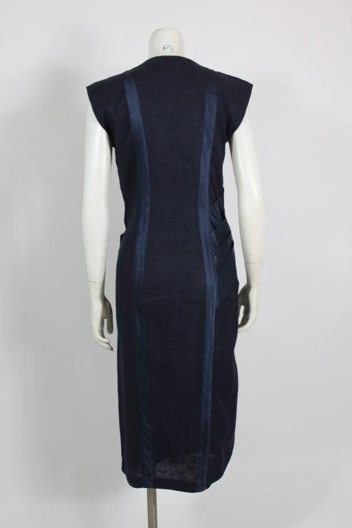 Gianni Versace Navy Linen Wrap Dress with Silk Detail 4