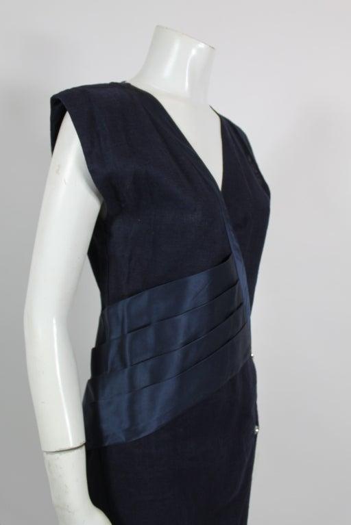Gianni Versace Navy Linen Wrap Dress with Silk Detail 6
