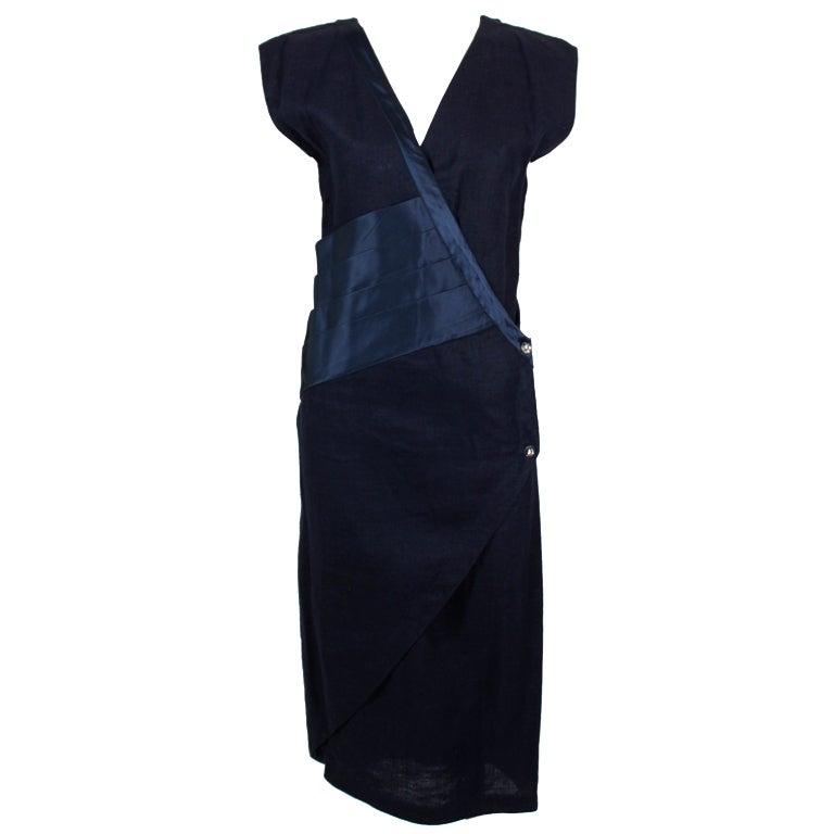 Gianni Versace Navy Linen Wrap Dress with Silk Detail 1