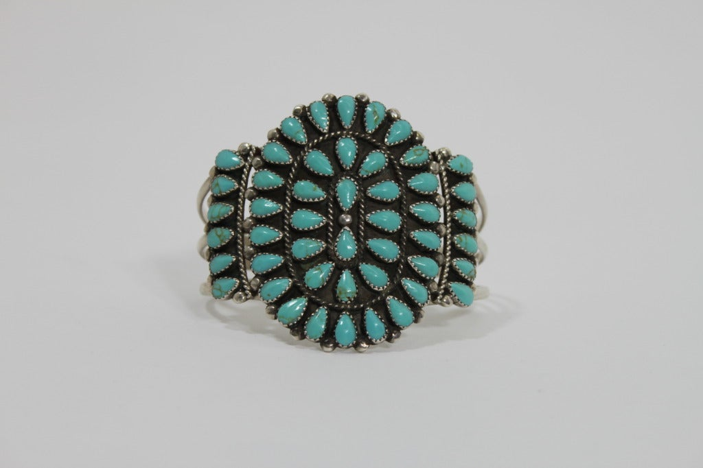 1970s Pawn Sterling Silver Navajo Cuff with Turquoise Stones 2