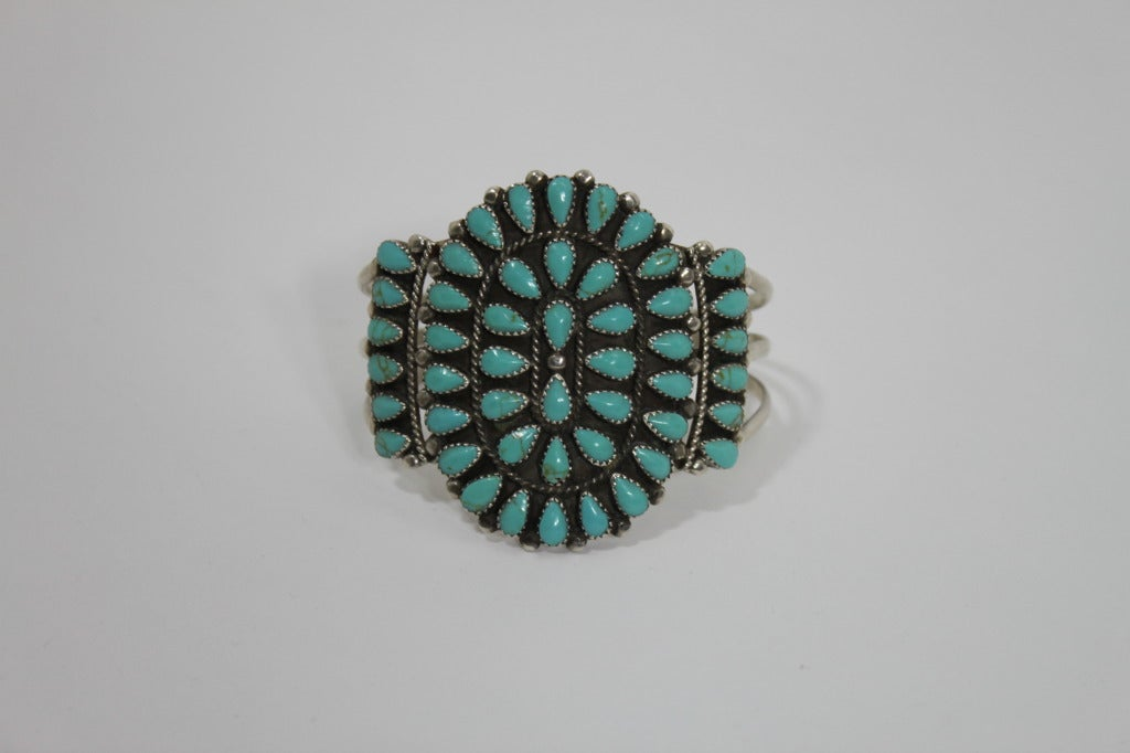 1970s Pawn Sterling Silver Navajo Cuff with Turquoise Stones 3
