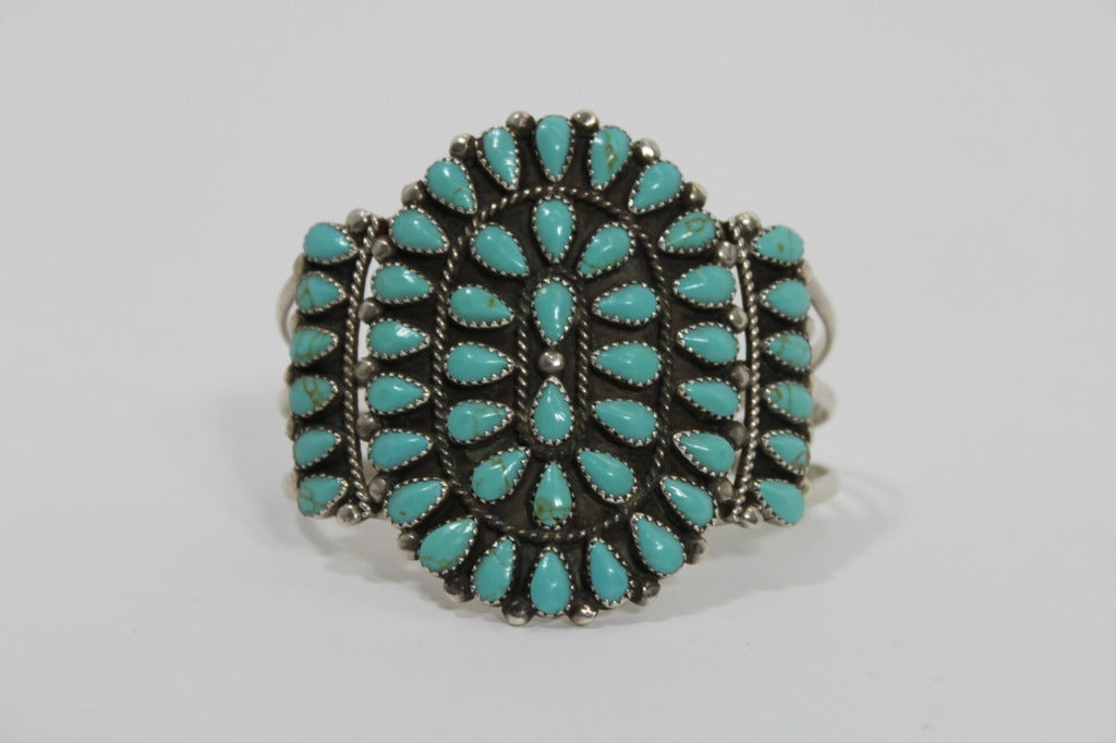 1970s Pawn Sterling Silver Navajo Cuff with Turquoise Stones 4