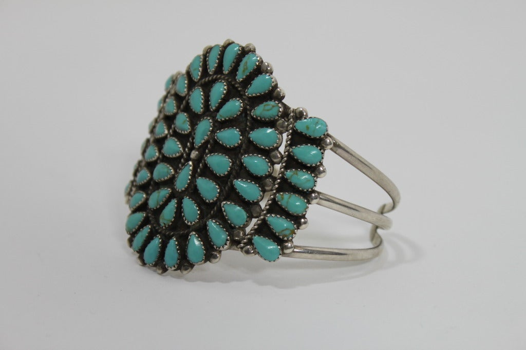 1970s Pawn Sterling Silver Navajo Cuff with Turquoise Stones 5