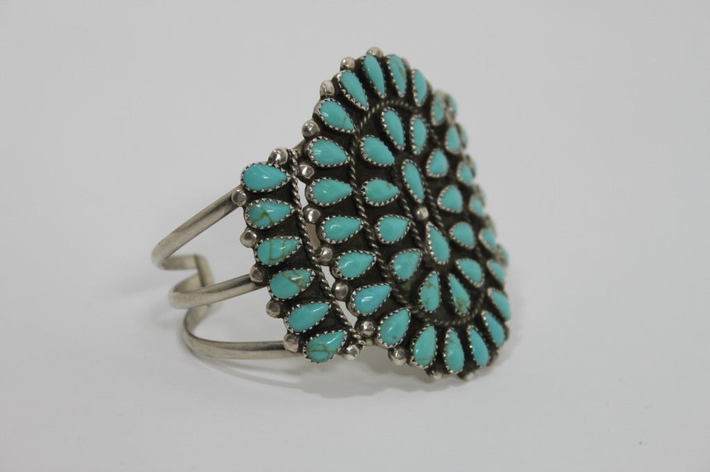 1970s Pawn Sterling Silver Navajo Cuff with Turquoise Stones 6