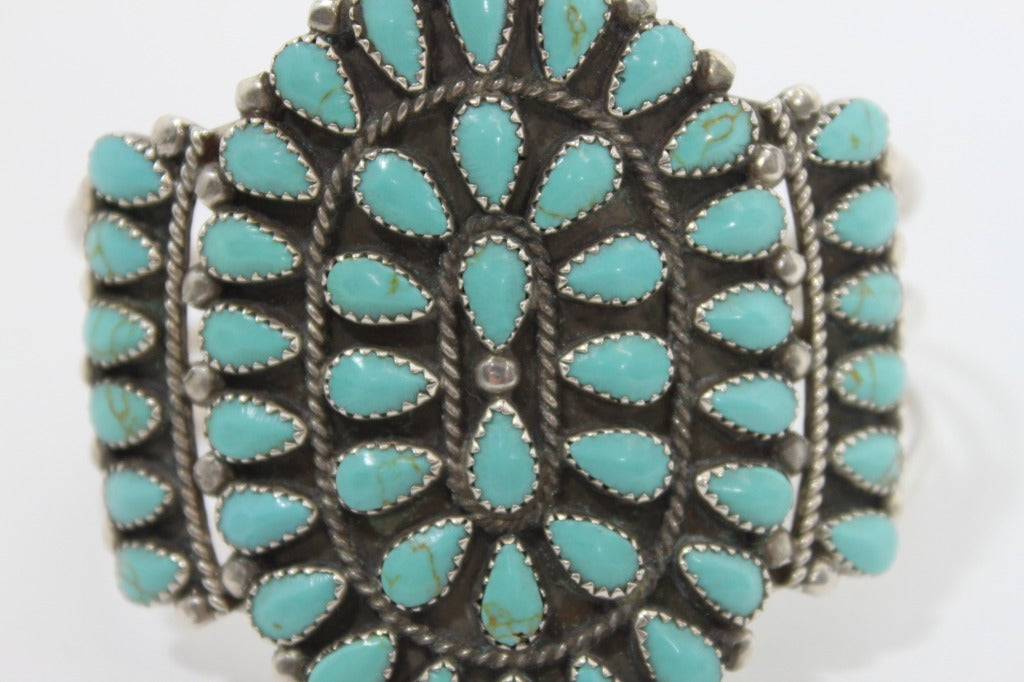 1970s Pawn Sterling Silver Navajo Cuff with Turquoise Stones 7