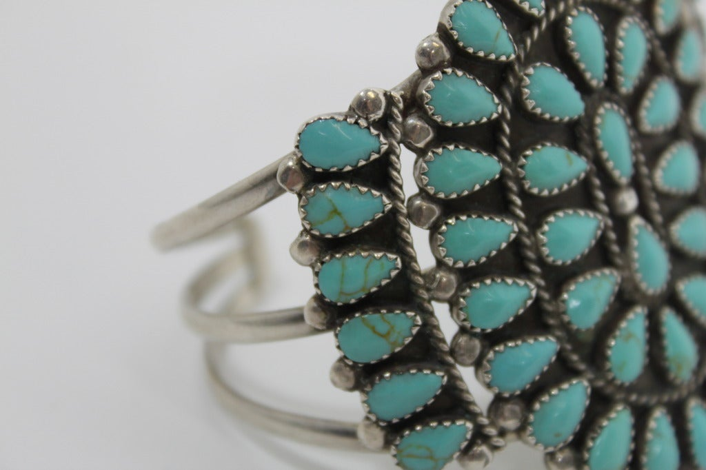 1970s Pawn Sterling Silver Navajo Cuff with Turquoise Stones 8