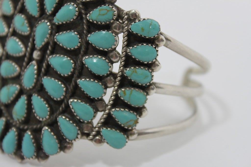 1970s Pawn Sterling Silver Navajo Cuff with Turquoise Stones 9