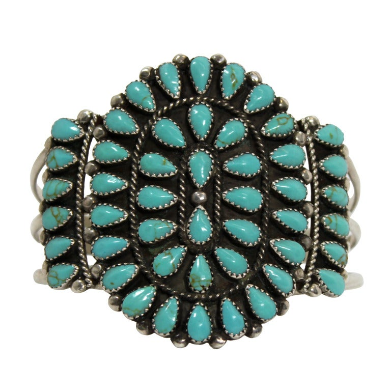 1970s Pawn Sterling Silver Navajo Cuff with Turquoise Stones 1