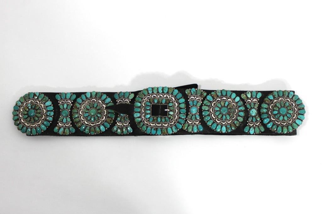 Zuni Natural Turquoise Concha Cluster Belt in Sterling Silver 2