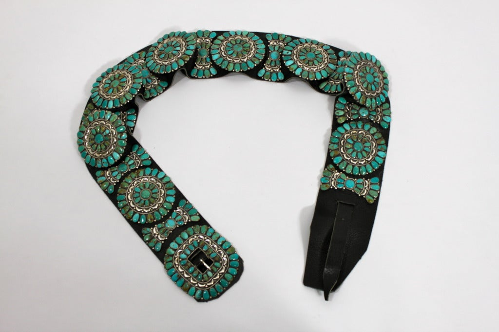 Zuni Natural Turquoise Concha Cluster Belt in Sterling Silver 3