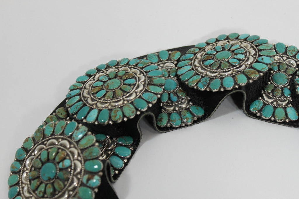Zuni Natural Turquoise Concha Cluster Belt in Sterling Silver 4