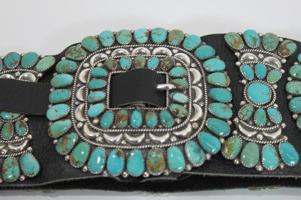 Zuni Natural Turquoise Concha Cluster Belt in Sterling Silver 5