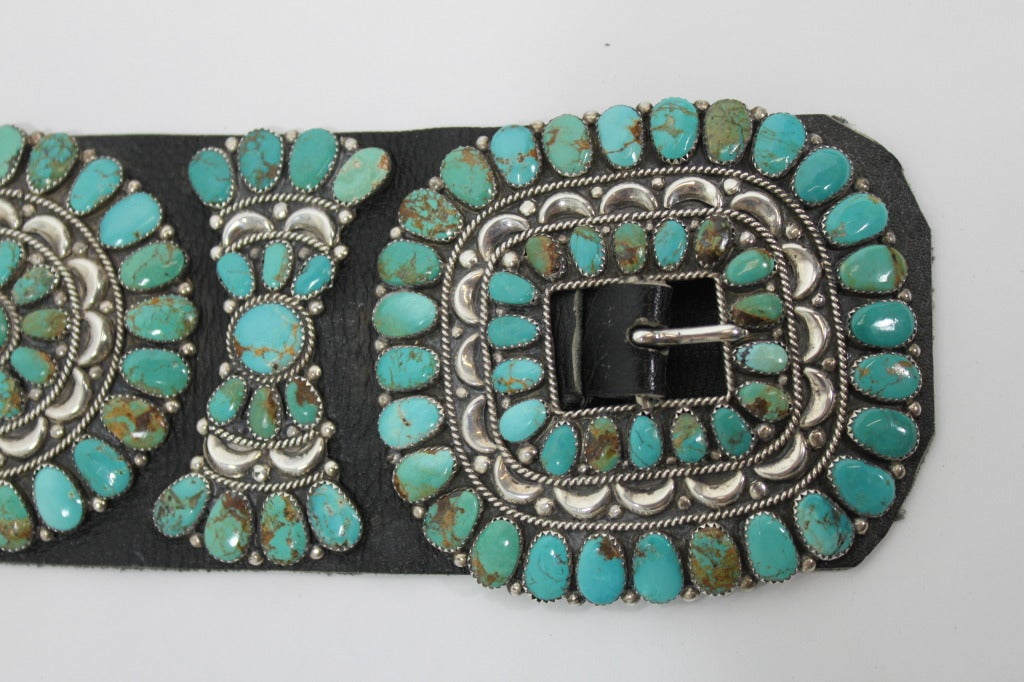 Zuni Natural Turquoise Concha Cluster Belt in Sterling Silver 6
