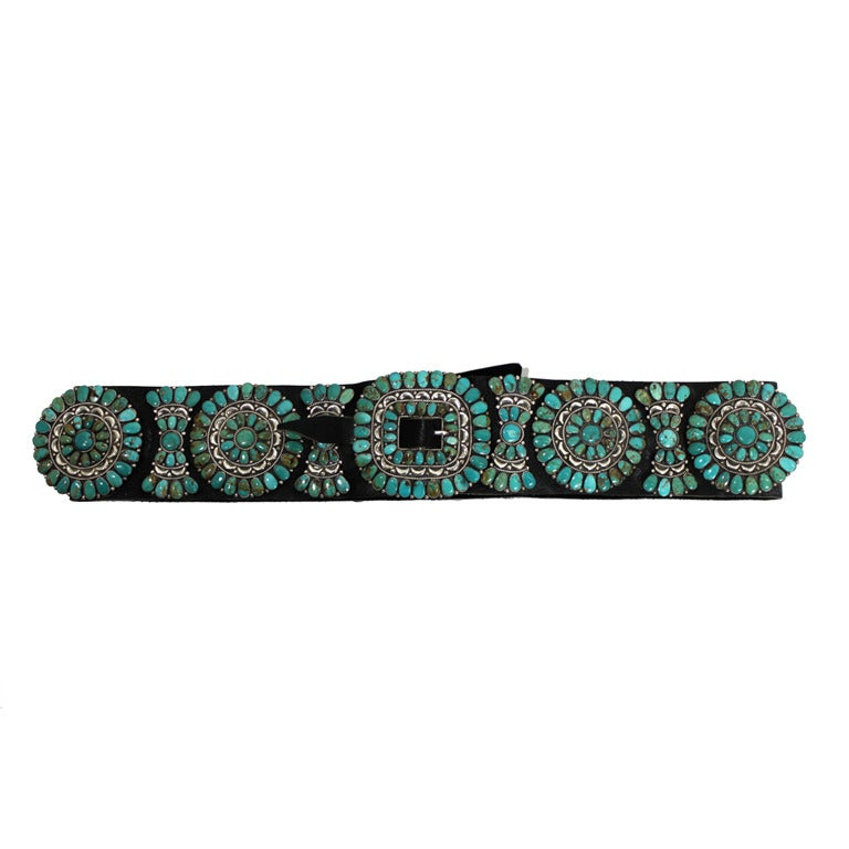 Zuni Natural Turquoise Concha Cluster Belt in Sterling Silver 1