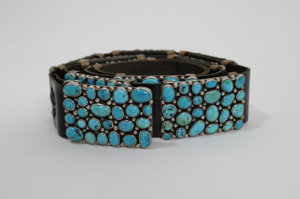 Modernist Turquoise Leather Belt set in Sterling Silver 2