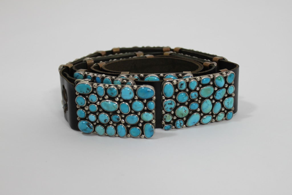 Modernist Turquoise Leather Belt set in Sterling Silver 3